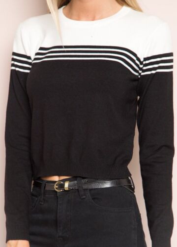 Soft Top Melville crop Pullover Knit Sz bianco S nero Super Brandy Gracie 1xw6qzz