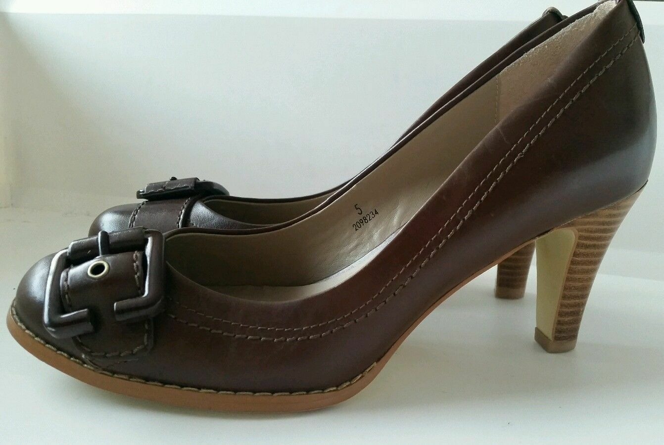 M&S Autograph Brown Real Leather Court Shoes High Heels Size UK 5 MINT