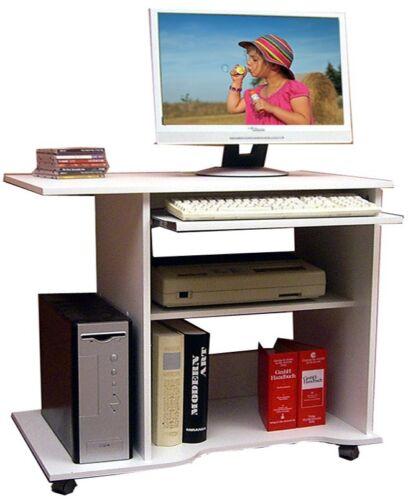 VCM Computertisch Schreibtisch Bürotisch PC Laptop Tisch mit Rollen Weiß Büro