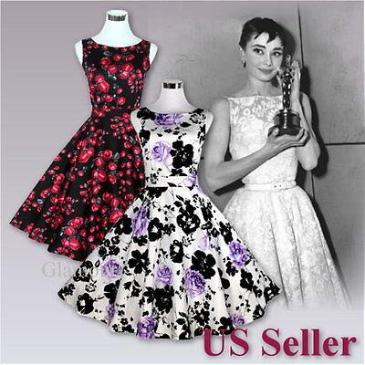 New Women/'s 50s Hepburn Style Party Wedding Graduation Swing Retro Nice Dress