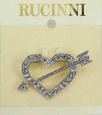 RUCINNI Heart & Arrow Brooch, Imitation Rhodium Plated and Swarovski Crystals