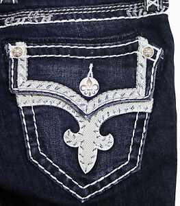 New Womens Rock Revival Jeans Tibbie B207 Dark Blue Bootcut 25 26