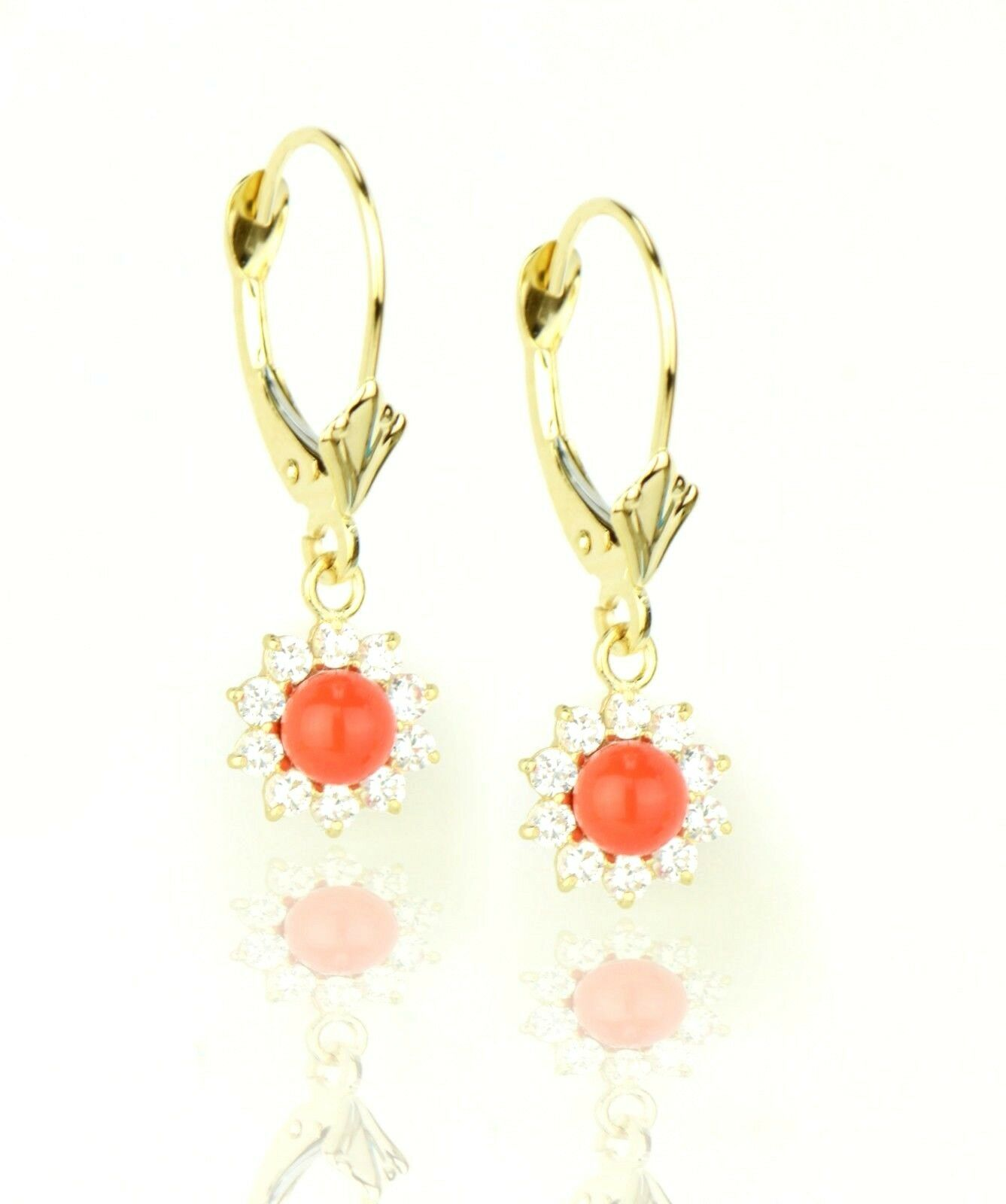 14K Yellow gold Flower Dangle Earrings with Light Coral