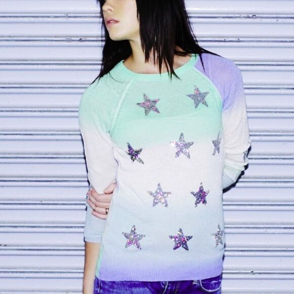 Wildfox Couture Star Gazer Ombre Sequin Party Sweater S M  NWT