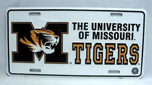 The University Of Missouri Tigers Metal Car Truck Auto Tag License Plate MIZZOU