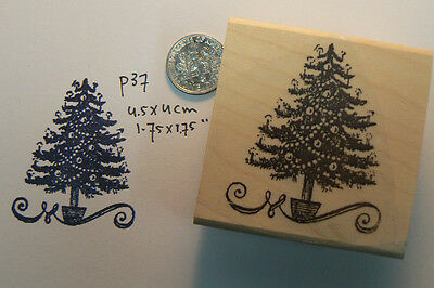 P37  Small Christmas tree rubber stamp WM