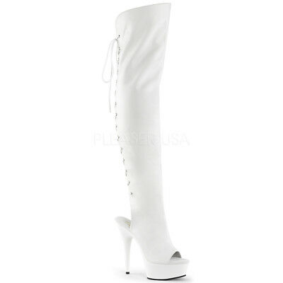 Pleaser DELIGHT-3019 White Platform Open Toe Heel  Back Lace Thigh High Boots