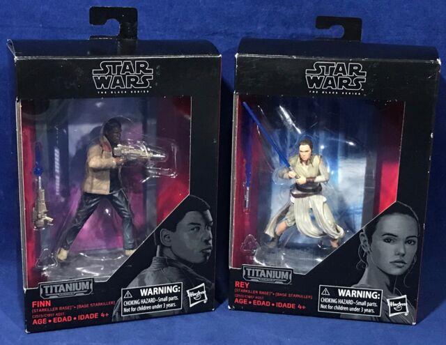 REY & FINN Star Wars BLACK SERIES Action Figures 08 09 TITANIUM Starkiller Base