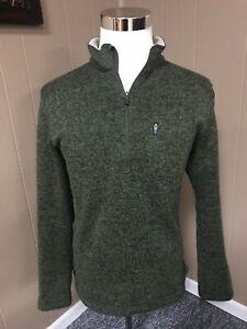 Mens-Large-Woolrich-Angler-1-4-Zip-Fleece-Sweater-Green-Style-HMQ0023S