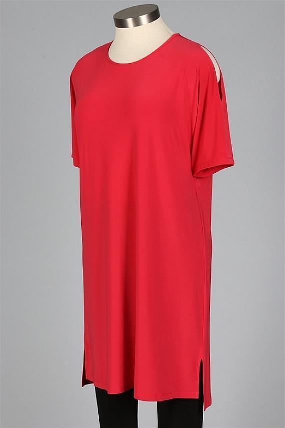 SUN KIM by Comfy USA Palm Beach rot Cold Shoulder DUBLIN Tunic Dress 1X NWT