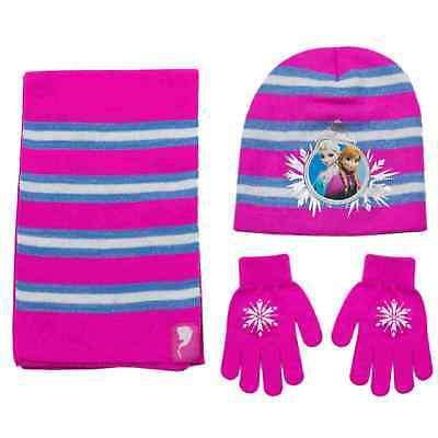 Official Disney Frozen Elsa /& Anna Knitted Beanie Hat Gloves Scarf Set 2-7 Years