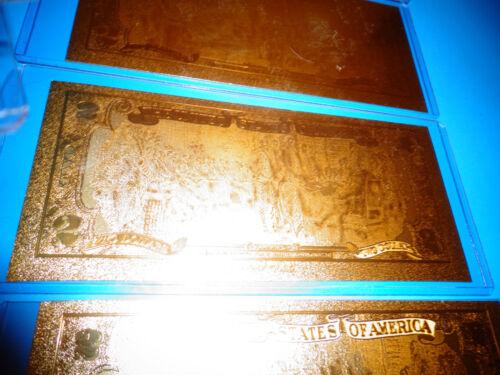 24 KARAT 99.9/% GOLD U.S.A $ 2 DOLLAR BILL 2009 COMES IN RIGID PVC BILL HOLDER