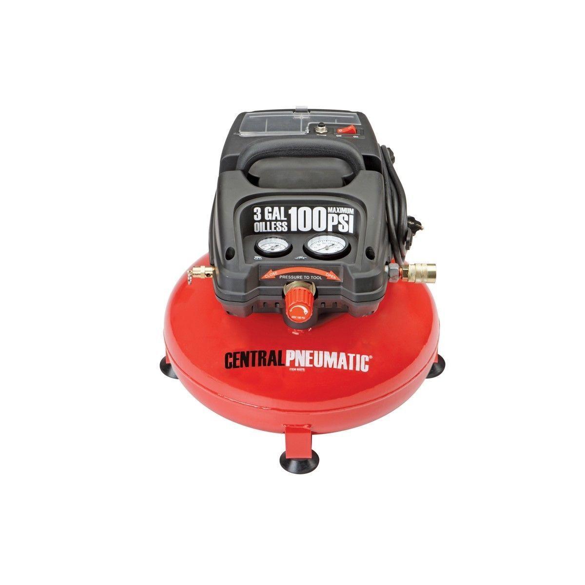 3 Gallon Air Compressor 100 PSI Oilless Portable Pancake 1 3 Horsepower Gauge