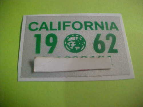 1962 california Motor Cycle  license plate registration sticker