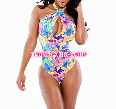 Sexy Women Ladies 1PC Halter Floral Monokini Beachwear Bikini Swimsuit Swimwear