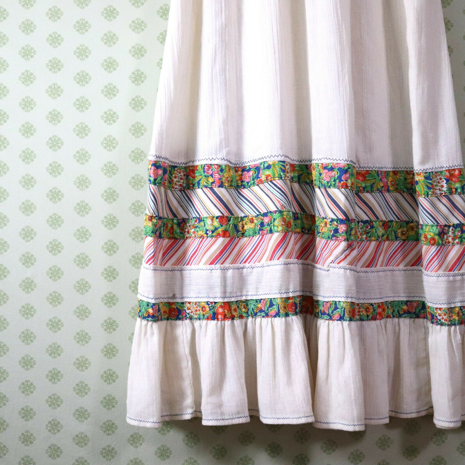 vintage 60s 70s patchwork guaze maxi dress XS pra… - image 7