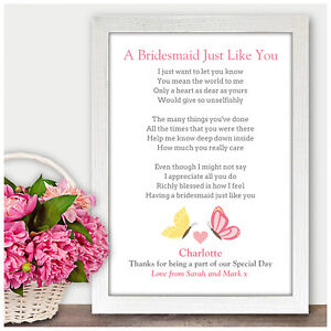 15841d7ed502 Personalised Bridesmaid Thank You Gifts Flower Girl Maid of Honour ...