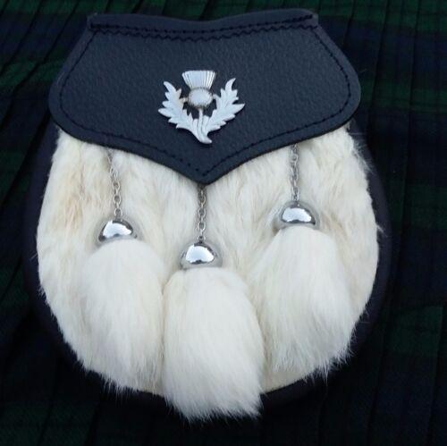 Sporran Leather Bag 3Tassels Rabbit whiteFur Scottish Traditional HighLand Wear