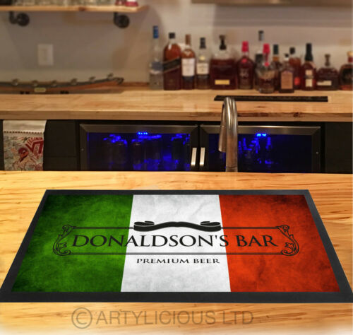 Personalised Italian Flag grunge beer Label bar runner counter mat pubs and club