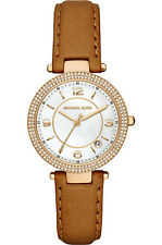 Michael Kors Women's Mini Parker Glitz Gold Tone Brown Leather 33mm Watch MK2464