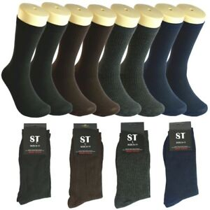 3-12-pairs-Men-Multi-Color-ST-Ribbed-Cotton-Fashion-Casual-Dress-Socks-10-13