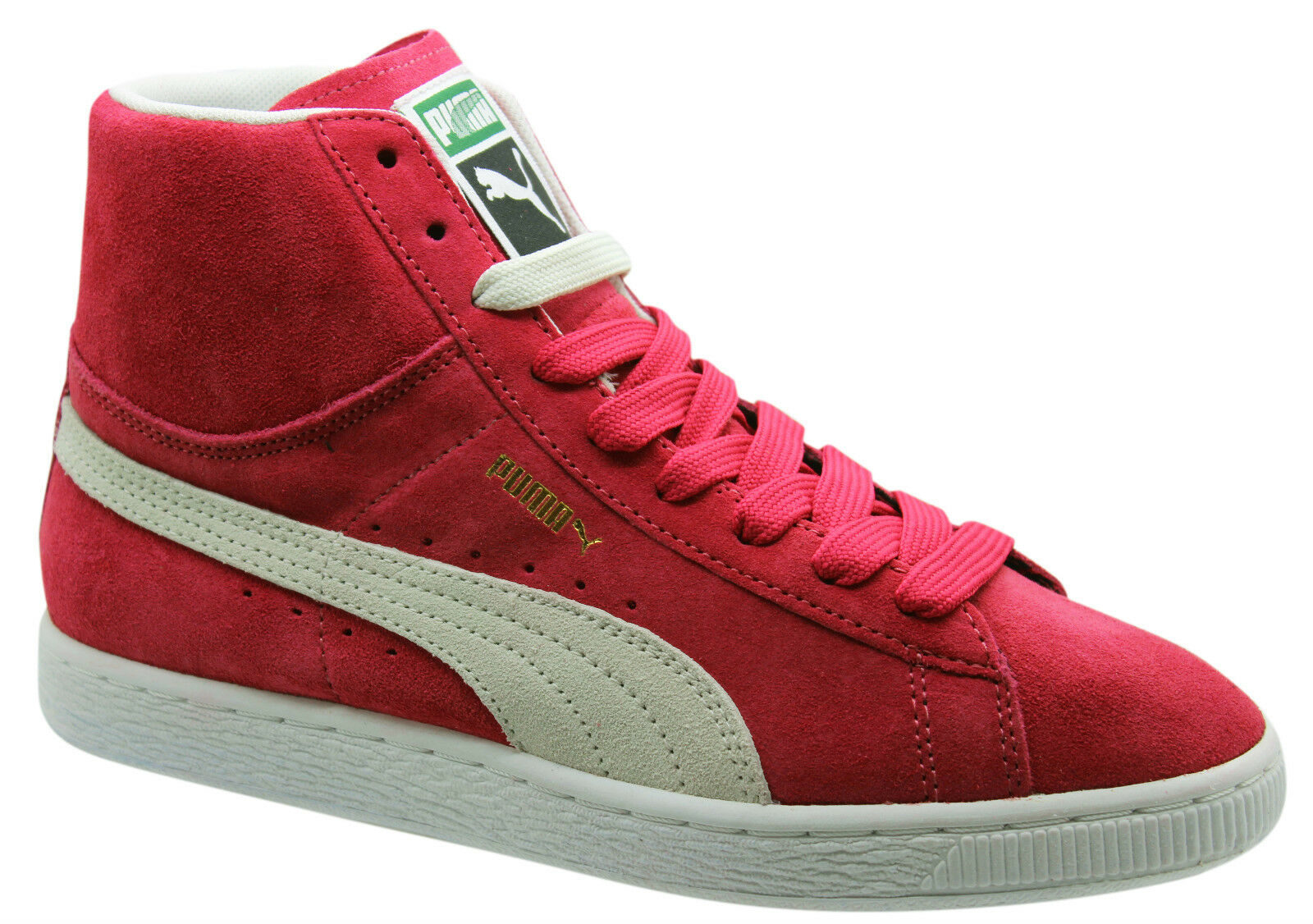 Puma Suede Mid Womens Trainers Hi Top Shoes Leather Pink Lace Up 355460 02 D51 Special limited time