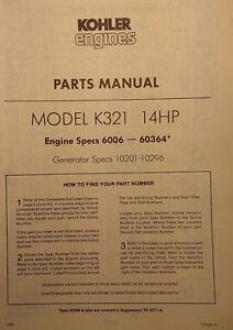 kohler k321 gasoline 14 h p engine motor master parts 2 manuals rh ebay com kohler k321 engine parts manual kohler k321 engine parts diagram