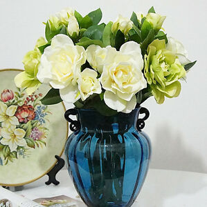 3 heads artificial gardenia silk flowers party wedding decor home image is loading 3 heads artificial gardenia silk flowers party wedding mightylinksfo