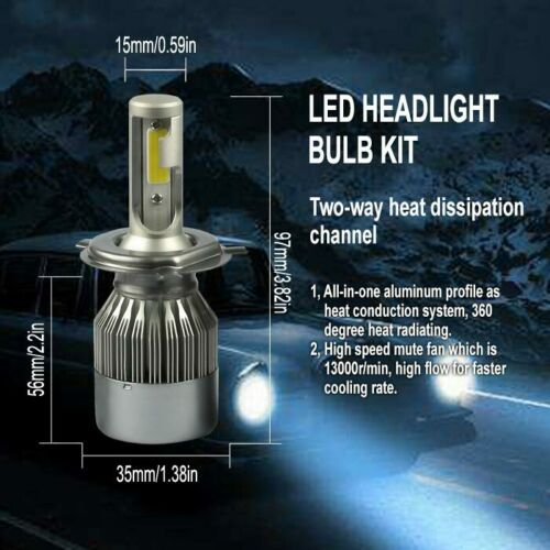 H4 9003 6000K High Power COB LED Bulb White HiLow Beam