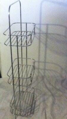Slim 3 Shelf Space Save Free Stand Wire Floor Rack Bath Kitchen Organize Storage