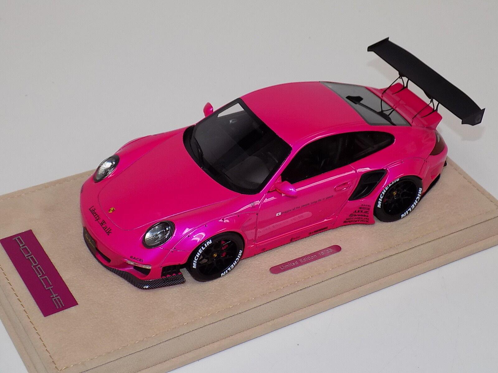 1 18 AB Models Porsche 911 Liberty walk LB Performance Flash Pink no Decals 05B