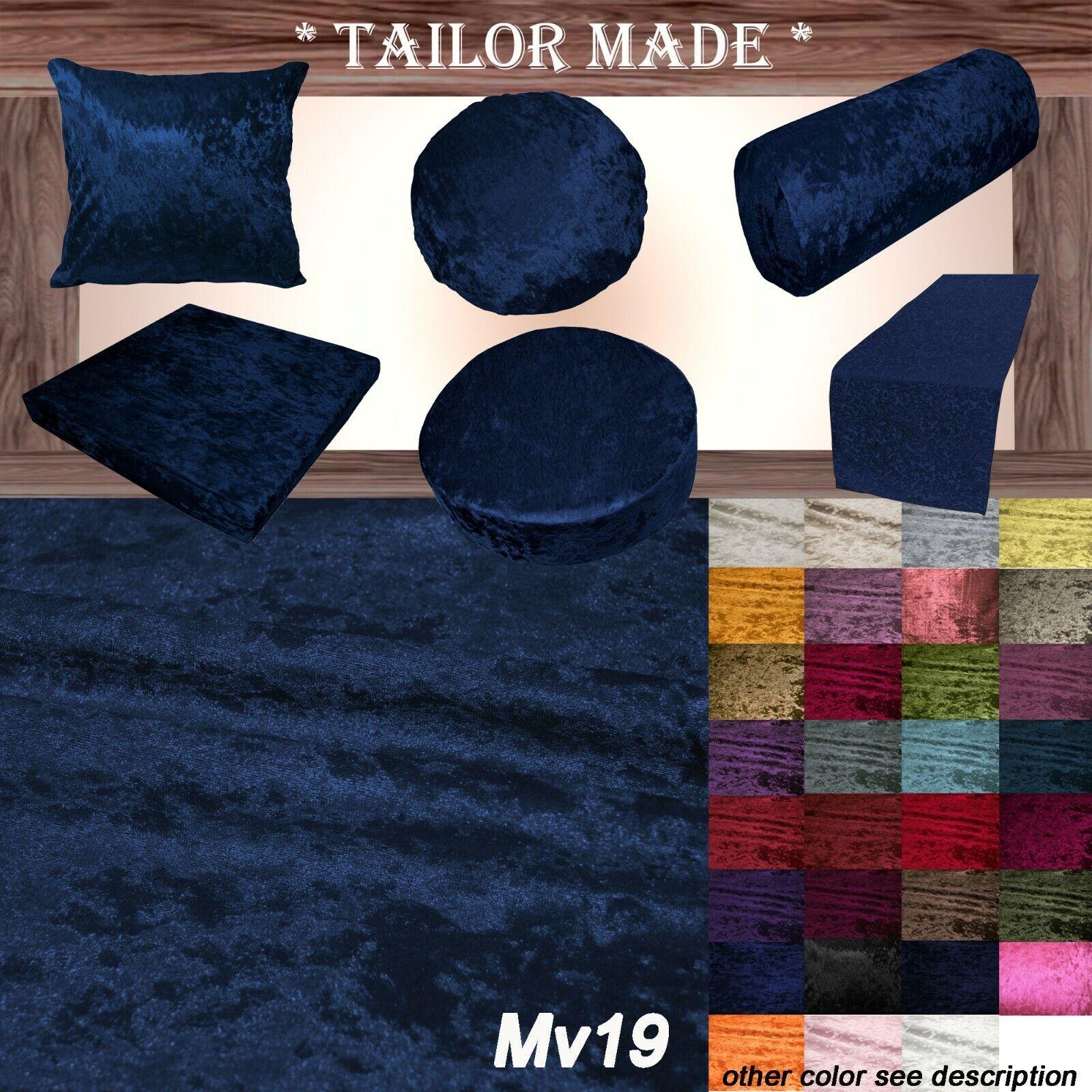 Mv19 Dark Blue Crushed Velvet Sofa Seat Patio Bench Cushion Bolster Cover Runner Ebay