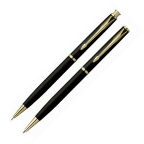Parker Insignia  Set Matte Black /& Gold Ballpoint Pen /& 0.5mm Pencil New In Box