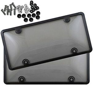 2x-Clear-Tinted-Smoked-License-Plate-Tag-Shield-Cover-and-Frame-Auto