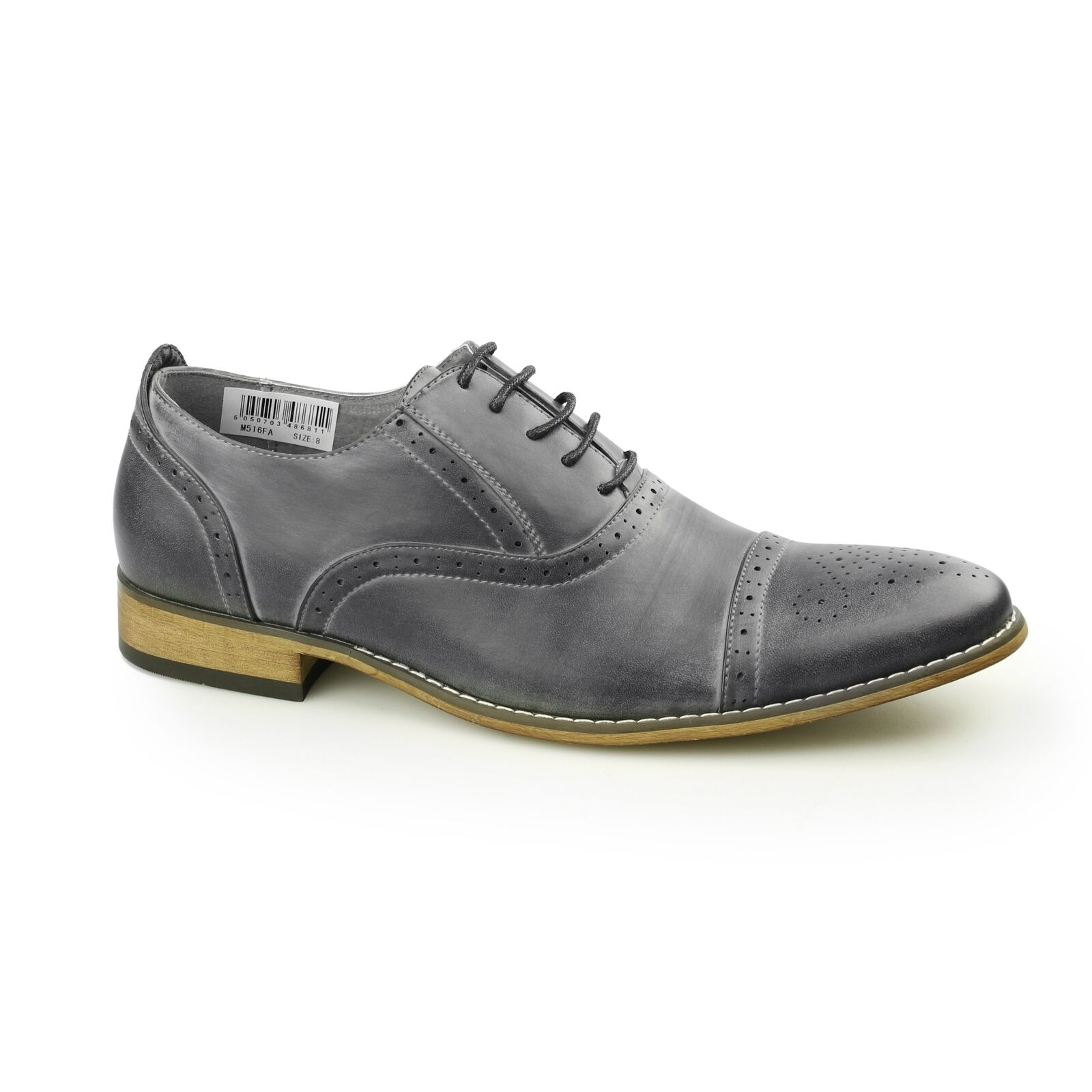 Goor ISAAC Mens PU Synthetic Leather Lace Up Formal Oxford Brogue Shoes Grey
