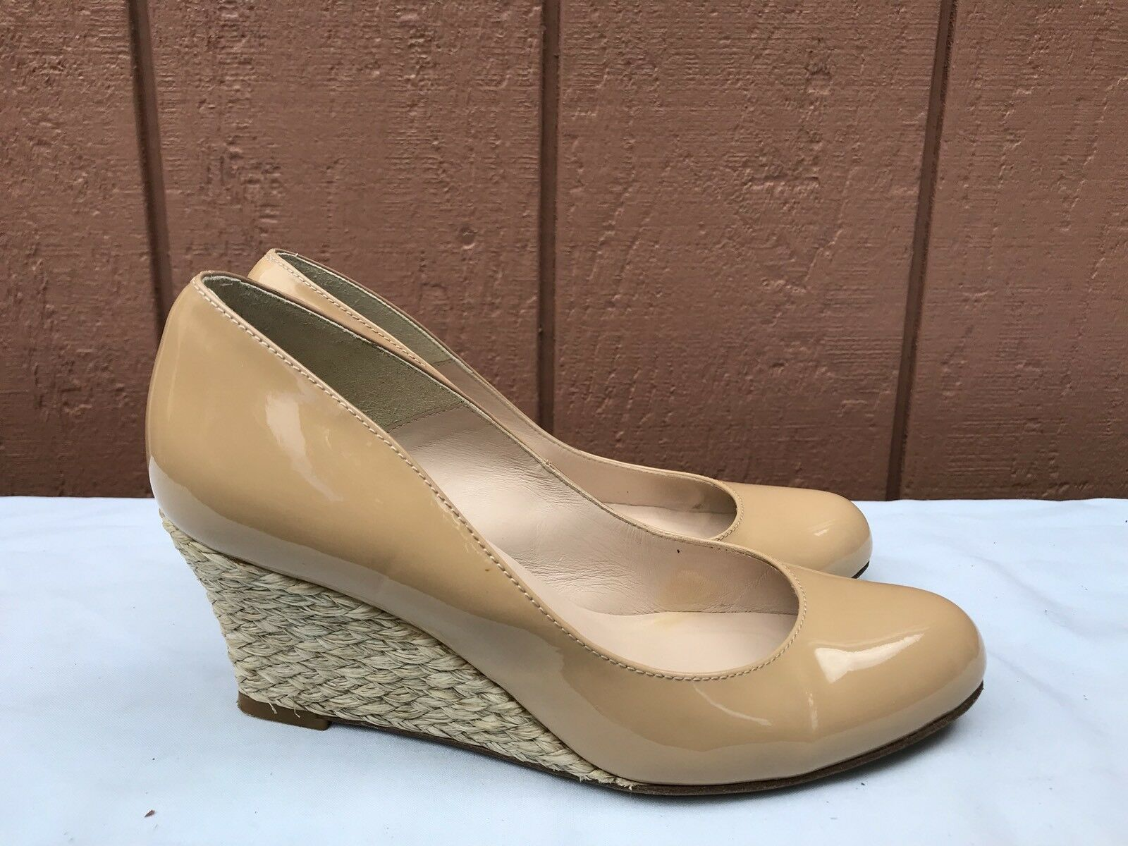 EUC LK Bennett 35 US 4.5 Nude Beige Patent Leather Espadrille Wedge A7