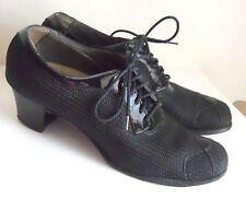 ART DECO Lace-up High Heel Vintage SHOES Black PATENT LEATHER Mesh 8 1/2