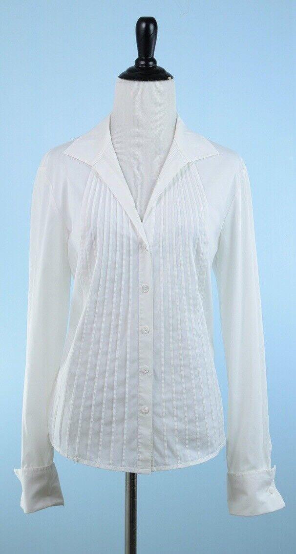 LAFAYETTE 148  Ivory Long Sleeve Pleat Front Stretch Cotton Top Größe 12