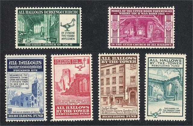 Great Britain All Hallows Church Set of 6 TOC H Christian Charity Stamps MNH