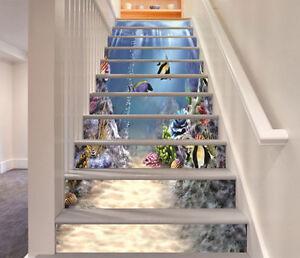 3D Sea, fish 4565 Stair Risers Decoration Photo Mural Vinyl Decal Wallpaper AU
