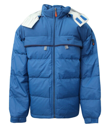 Nike Swoosh Boys Zip Up Funnel Neck Coat Padded Jacket Blue 420834 469 Y31A