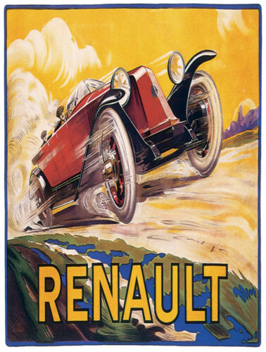 7767.Renault.red vintage car speeding on dirt road.POSTER.art wall decor