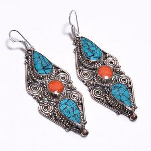 Turquoise-Coral-Gemstone-Earrings-Tibetan-Silver-Antique-Women-Jewelry-TE316