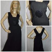 VINTAGE 70s BLACK SEQUIN TRIM MAXI DRESS 12-14 EVENING 1970s