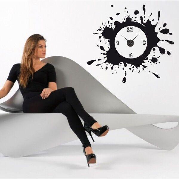 Sticker mural Horloge aiguilles géante TACHE DE PEINTURE avec mécanisme aiguilles Horloge 036c06