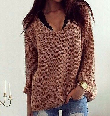 Hart Arbeitend Sexy Women Winter Casual Jumper V Neck Long Sleeve Pullover Tops Knitted Sweater