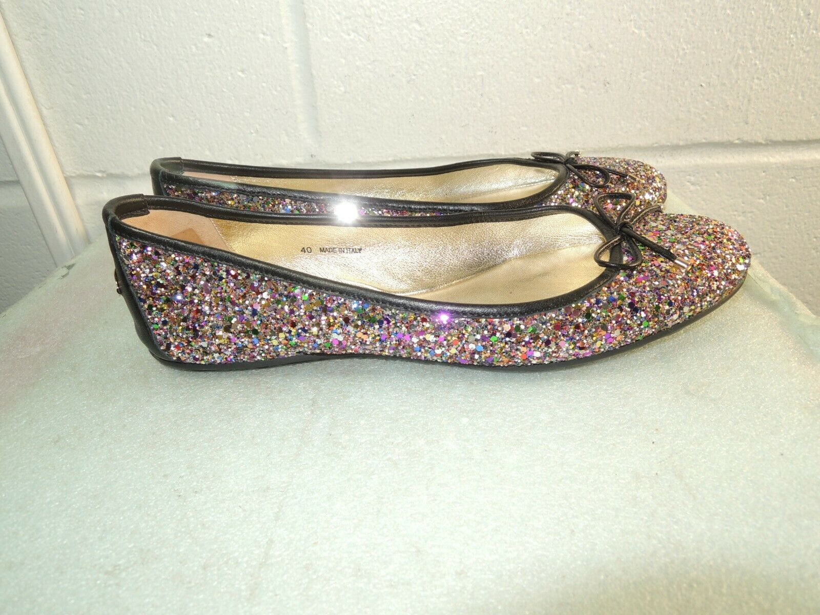 Jimmy Choo Multi-color Glitter Ballet Flats Women Size 40 10B Made in ITALY