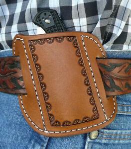 XL-S-Leather-Cross-Draw-Pocket-Knife-Sheath-Spyderco-Benchmade-Ruff-s-Brown