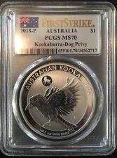 First Strike Aussie Flag 2018-P Australia $1 Silver Kookaburra PCGS MS-70 1oz