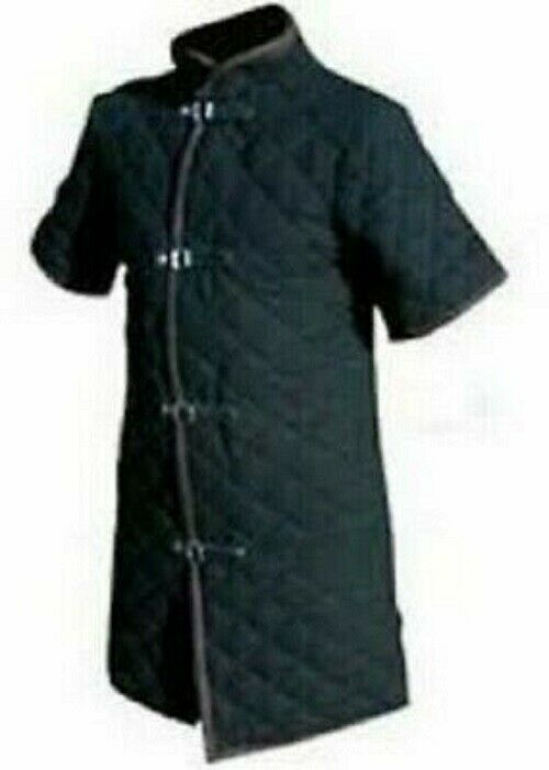 Black Color Thick Viking Gambeson Medieval Padded Short Sleeves smart look